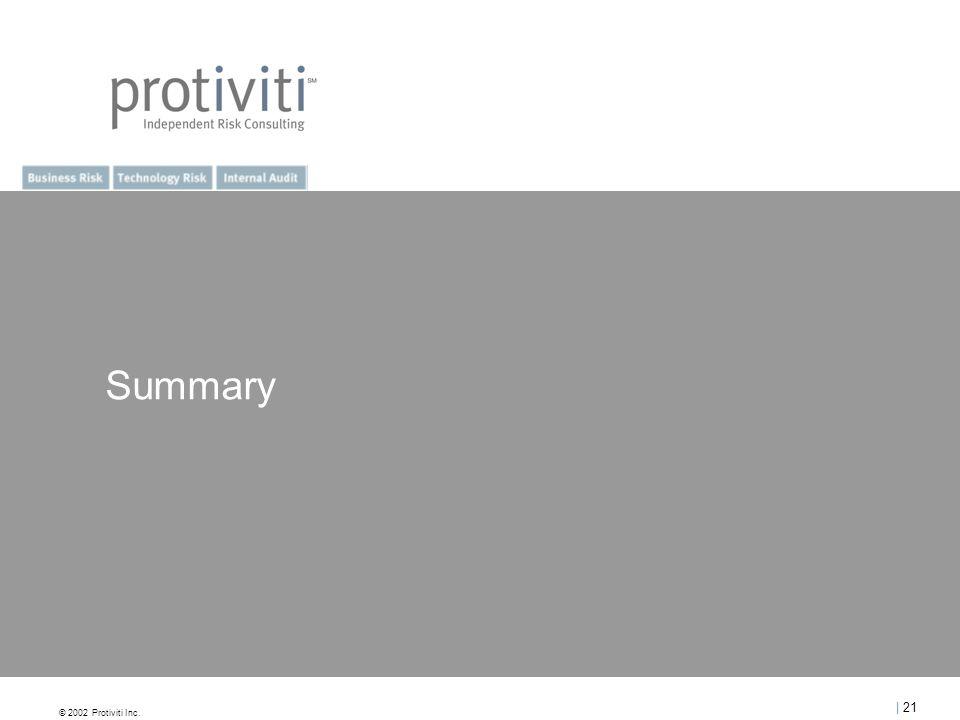 © 2002 Protiviti Inc. | 21 Summary