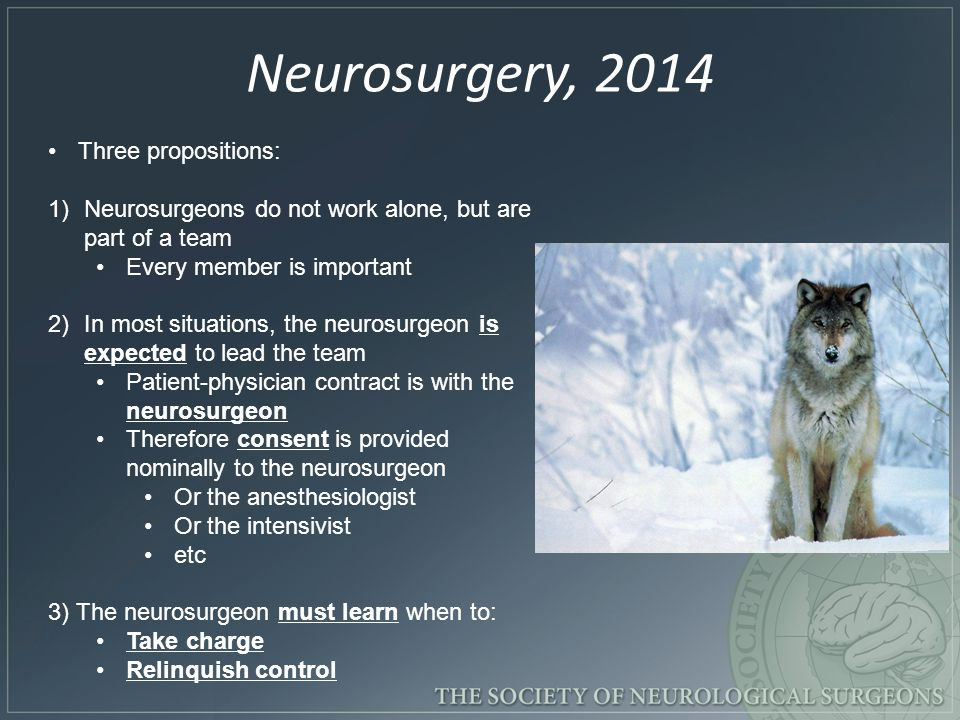 Neurosurgery, 2014 Three propositions: 1)Neurosurgeons do not work alone, but are part of a team Every member is important 2)In most situations, the neurosurgeon is expected to lead the team Patient-physician contract is with the neurosurgeon Therefore consent is provided nominally to the neurosurgeon Or the anesthesiologist Or the intensivist etc 3) The neurosurgeon must learn when to: Take charge Relinquish control