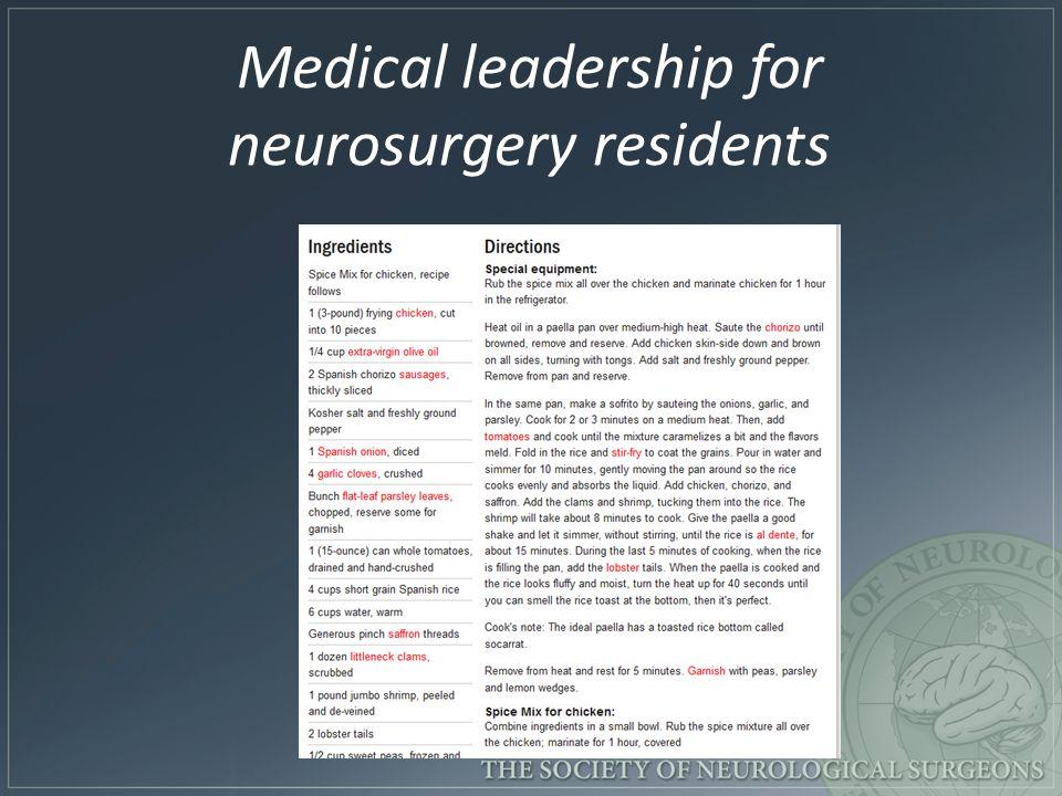 Medical leadership for neurosurgery residents