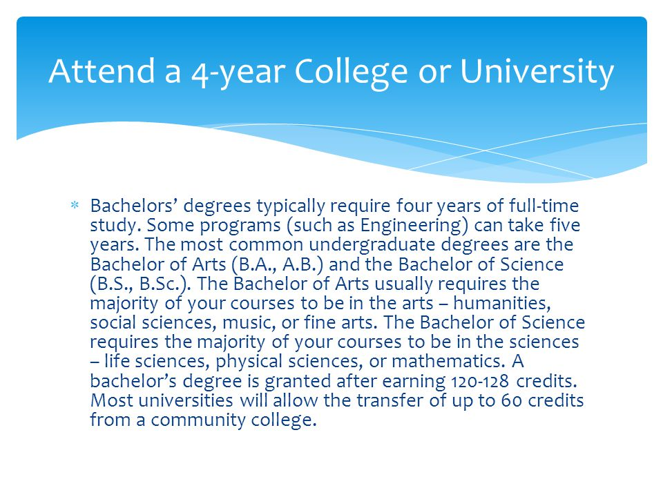  Bachelors' degrees typically require four years of full-time study. Some programs (such as Engineering) can take five years. The most common undergr