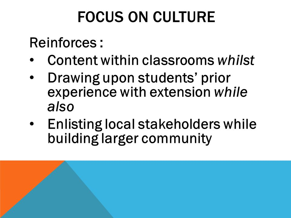 FOCUS ON CULTURE Reinforces : Content within classrooms whilst Drawing upon students' prior experience with extension while also Enlisting local stakeholders while building larger community