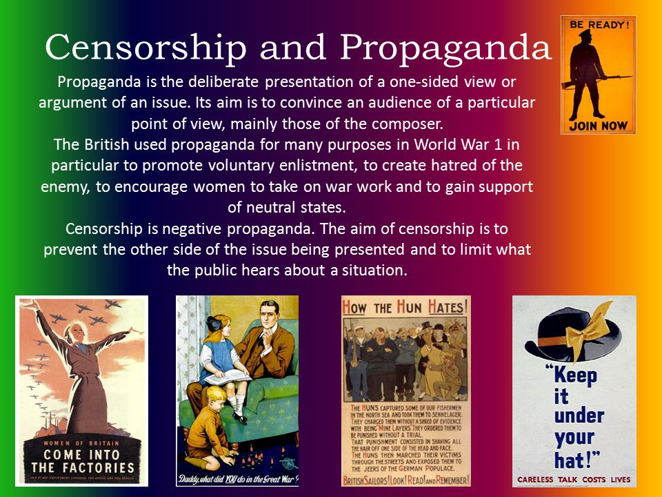 Propaganda is the deliberate presentation of a one-sided view or argument of an issue. Its aim is to convince an audience of a particular point of vie