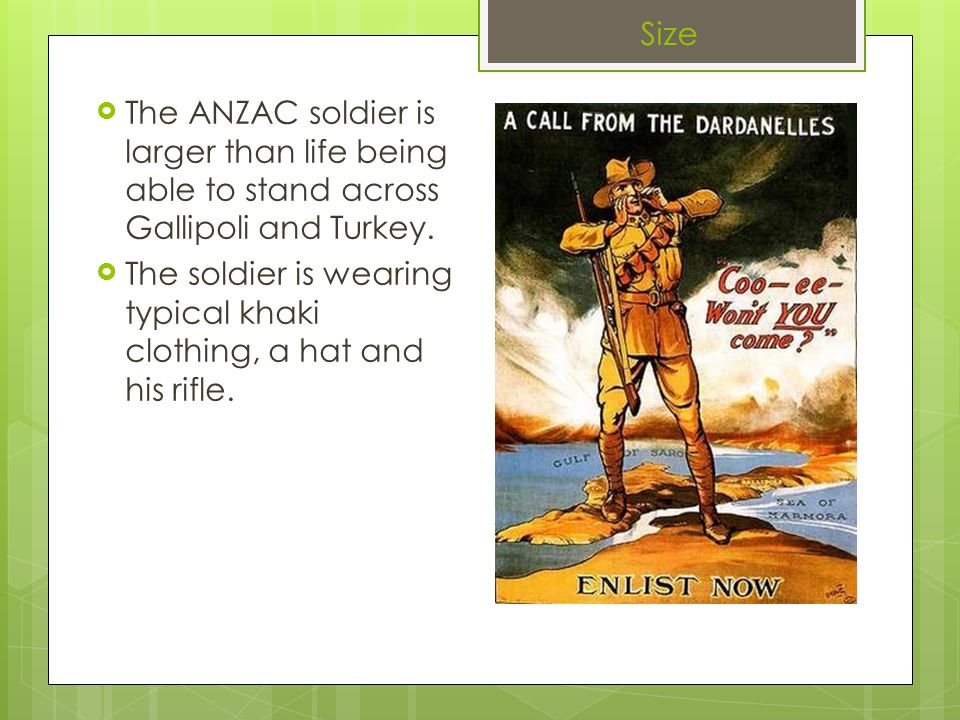  The ANZAC soldier is larger than life being able to stand across Gallipoli and Turkey.
