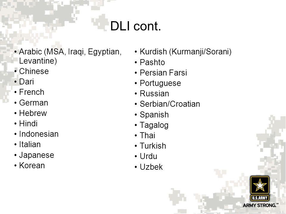 16 DLI cont. Arabic (MSA, Iraqi, Egyptian, Levantine) Chinese Dari French German Hebrew Hindi Indonesian Italian Japanese Korean Kurdish (Kurmanji/Sor