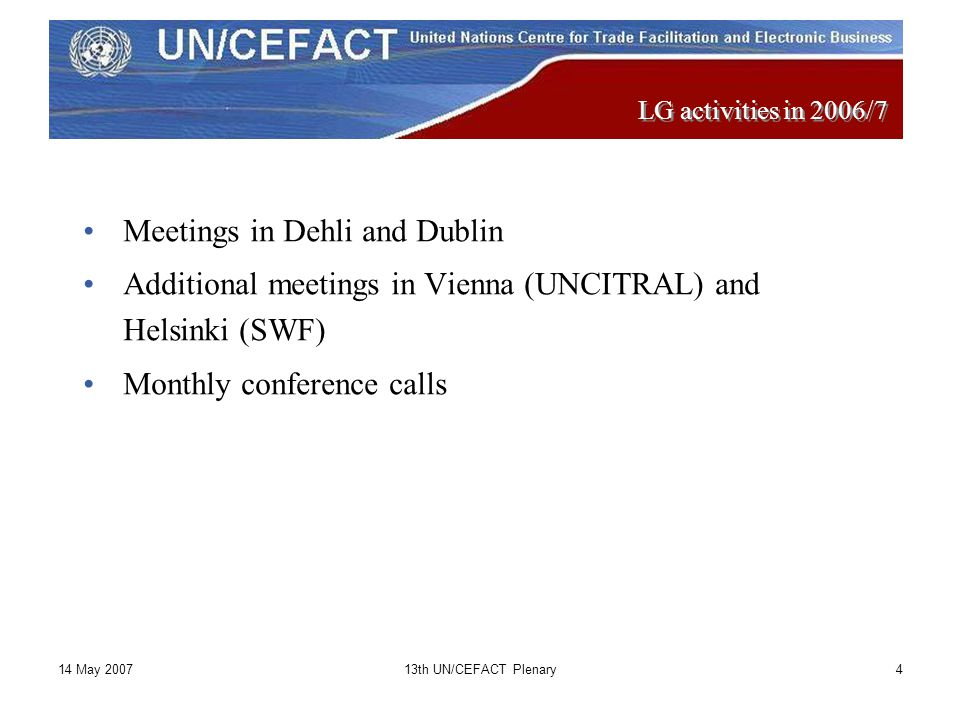 14 May 200713th UN/CEFACT Plenary5 UBAC Cooperation with TMG / Business Proces Working Group Reached phase 2 of the ODP