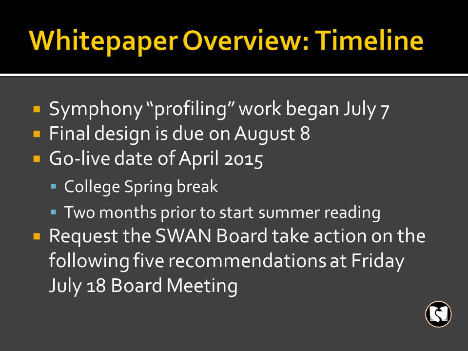 """ Symphony """"profiling"""" work began July 7  Final design is due on August 8  Go-live date of April 2015  College Spring break  Two months prior to s"""