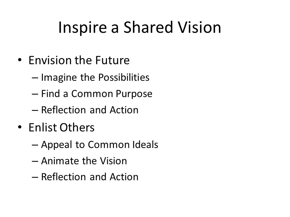 Inspire a Shared Vision Envision the Future – Imagine the Possibilities – Find a Common Purpose – Reflection and Action Enlist Others – Appeal to Common Ideals – Animate the Vision – Reflection and Action