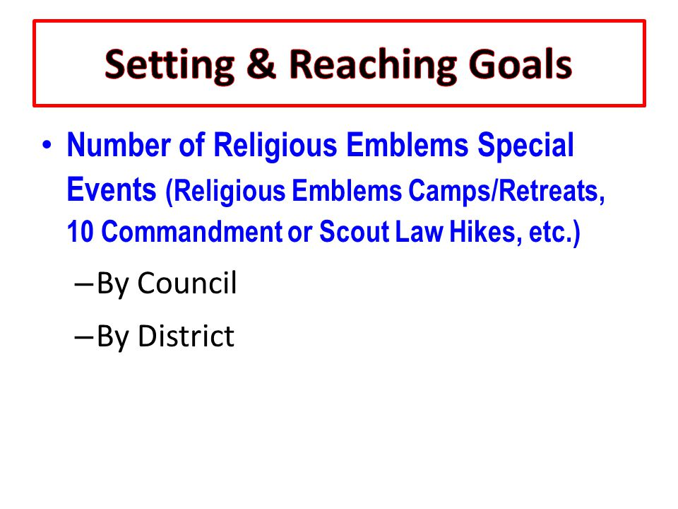 Number of Religious Emblems Special Events (Religious Emblems Camps/Retreats, 10 Commandment or Scout Law Hikes, etc.) – By Council – By District