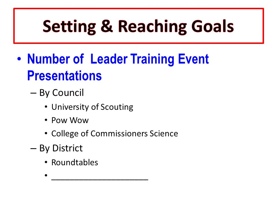 Number of Leader Training Event Presentations – By Council University of Scouting Pow Wow College of Commissioners Science – By District Roundtables _____________________