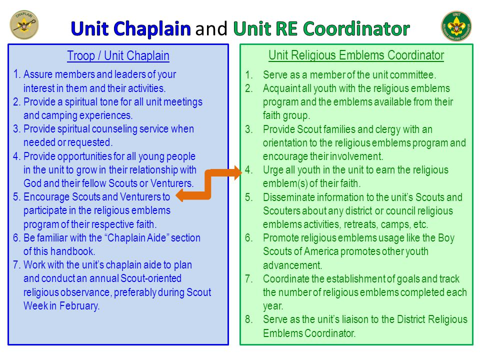Troop / Unit Chaplain 1. Assure members and leaders of your interest in them and their activities.