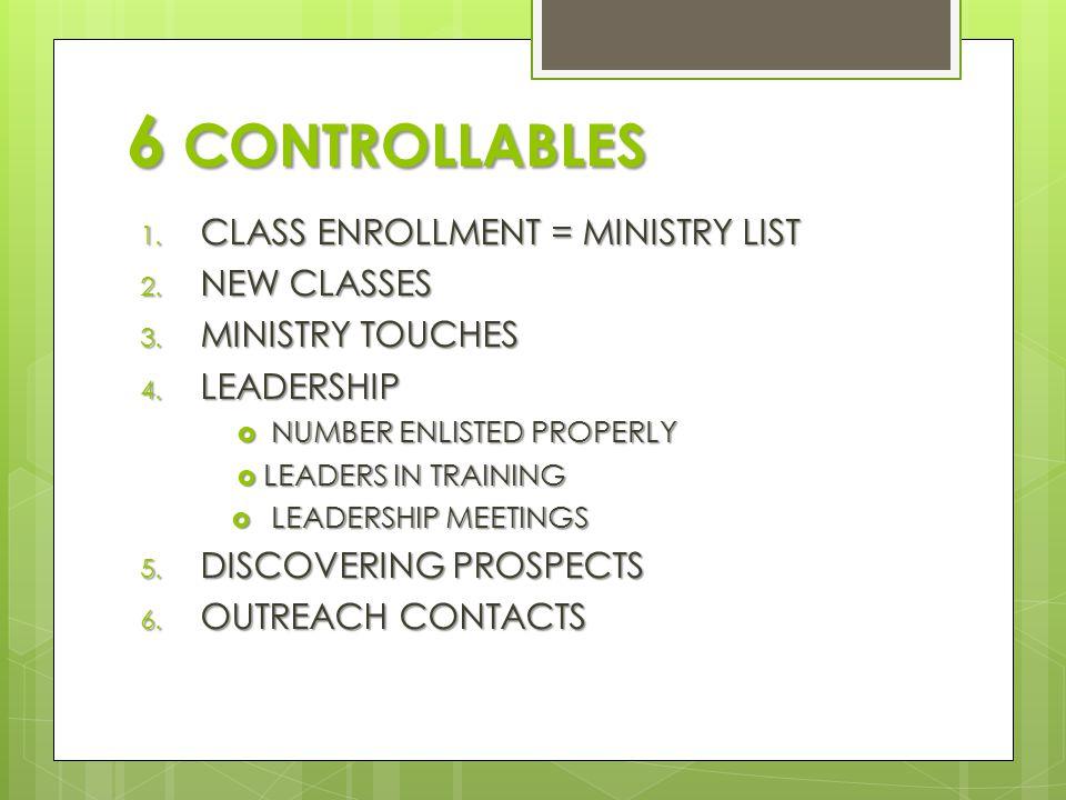6 CONTROLLABLES 1. CLASS ENROLLMENT = MINISTRY LIST 2.
