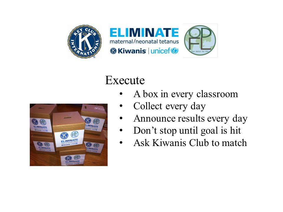 Execute A box in every classroom Collect every day Announce results every day Don't stop until goal is hit Ask Kiwanis Club to match