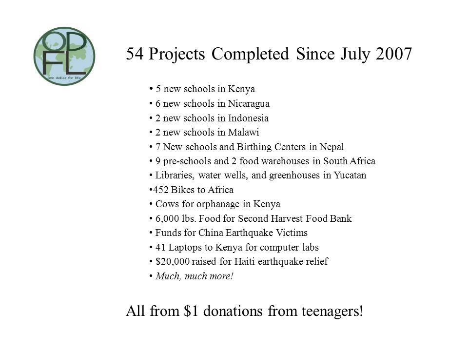 54 Projects Completed Since July 2007 5 new schools in Kenya 6 new schools in Nicaragua 2 new schools in Indonesia 2 new schools in Malawi 7 New schools and Birthing Centers in Nepal 9 pre-schools and 2 food warehouses in South Africa Libraries, water wells, and greenhouses in Yucatan 452 Bikes to Africa Cows for orphanage in Kenya 6,000 lbs.
