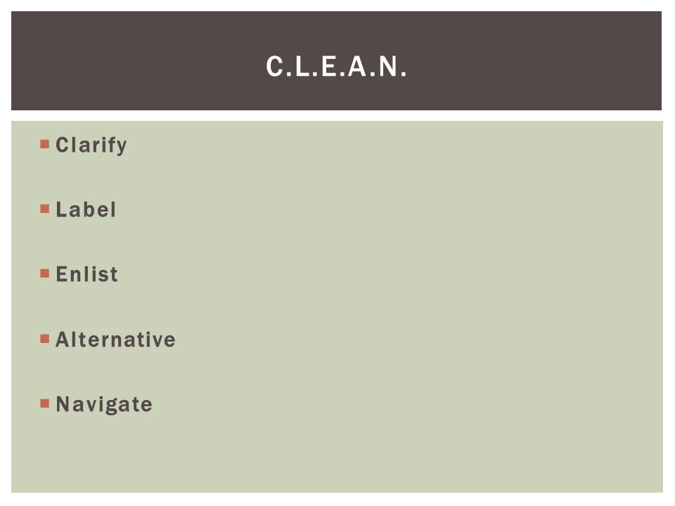  Clarify  Label  Enlist  Alternative  Navigate C.L.E.A.N.
