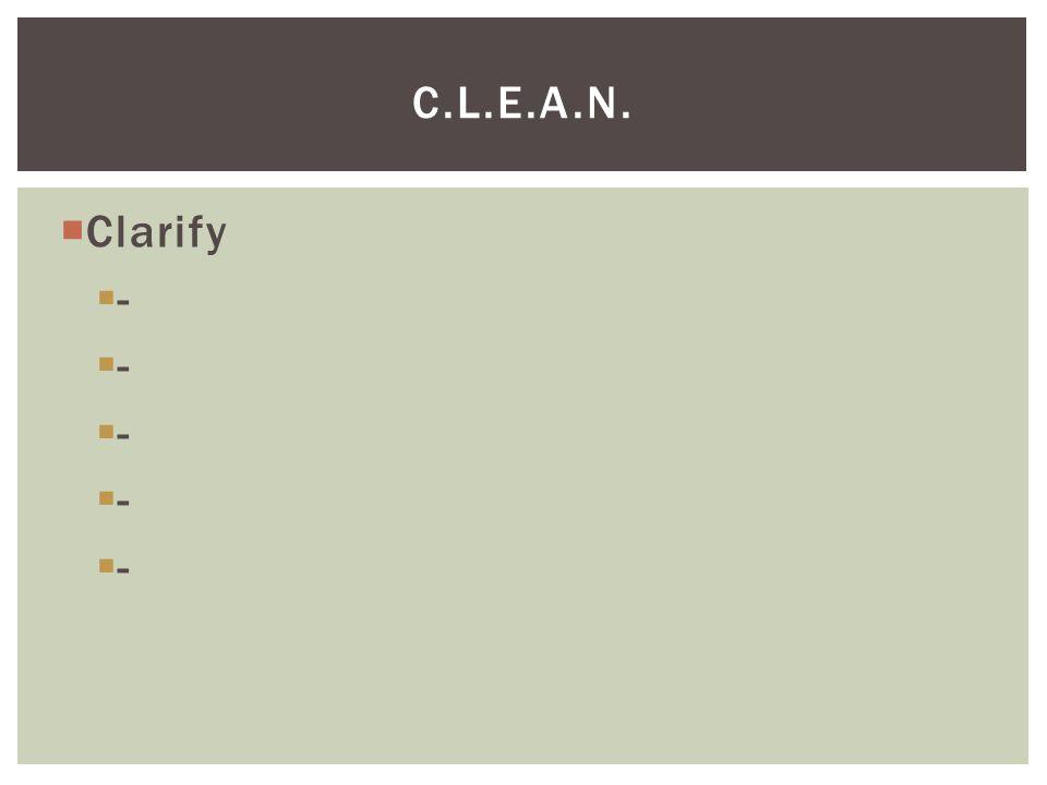  Clarify  - C.L.E.A.N.