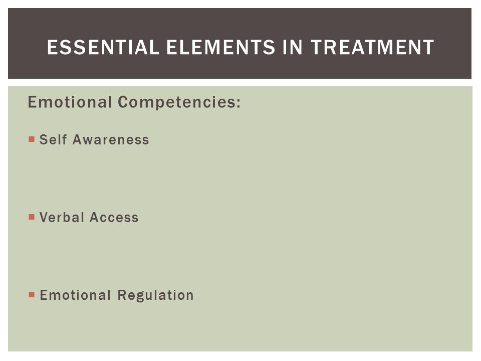 Emotional Competencies:  Self Awareness  Verbal Access  Emotional Regulation ESSENTIAL ELEMENTS IN TREATMENT