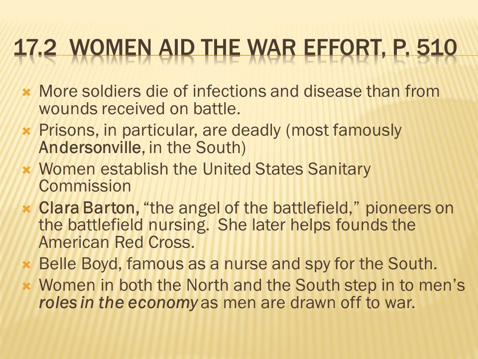  More soldiers die of infections and disease than from wounds received on battle.