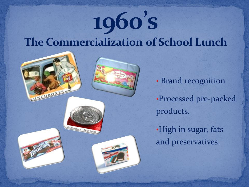 Brand recognition Processed pre-packed products. High in sugar, fats and preservatives.