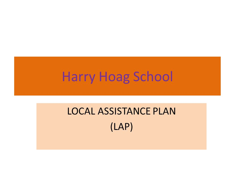 Harry Hoag School LOCAL ASSISTANCE PLAN (LAP)