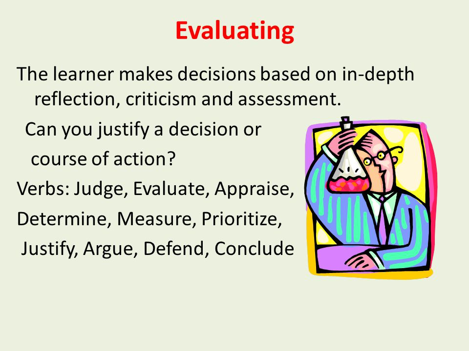 Analysing The learner breaks learned information into its parts to best understand that information. Can you break information into parts to explore u