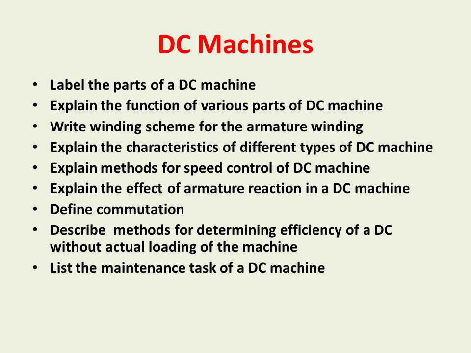 Generalized Treatment of Electrical Machines Explain the need for electromechanical energy conversion Differentiate between motor and generator Explain basic principles of generating and motoring action Define/ Explain torque Explain the significance of torque angle State the working principle of electrical rotating machines
