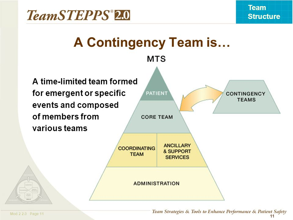 T EAM STEPPS 05.2 Mod 2 2.0 Page 11 Team Structure 11 A time-limited team formed for emergent or specific events and composed of members from various teams A Contingency Team is…