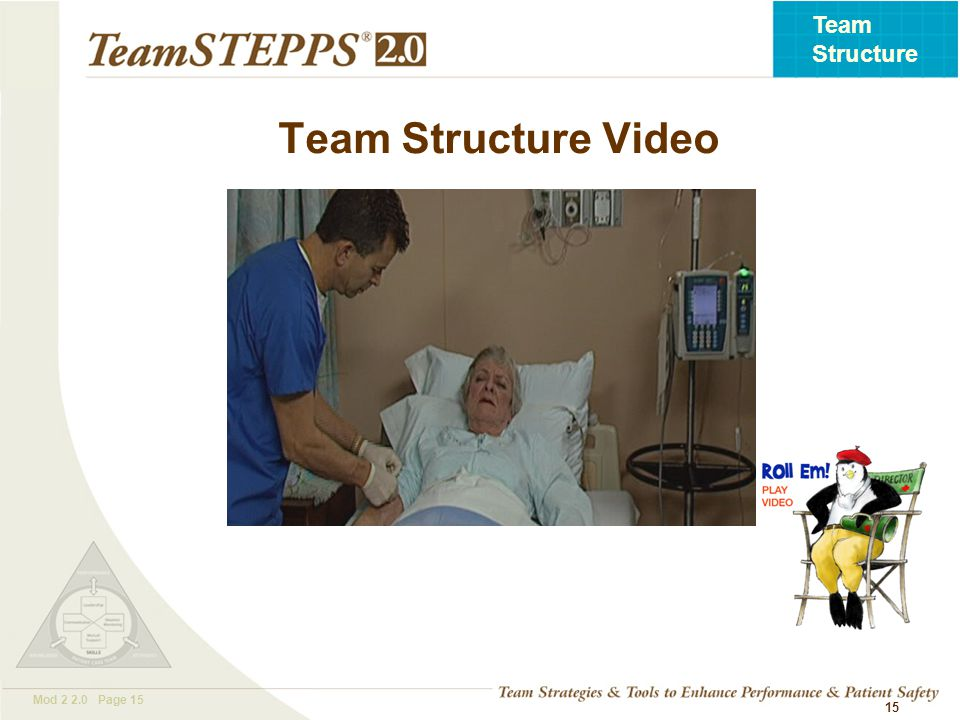 T EAM STEPPS 05.2 Mod 2 2.0 Page 15 Team Structure 15 Team Structure Video