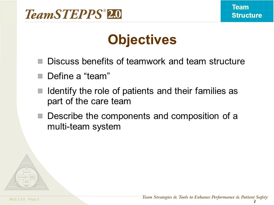 T EAM STEPPS 05.2 Mod 2 2.0 Page 2 Team Structure 2 Objectives Discuss benefits of teamwork and team structure Define a team Identify the role of patients and their families as part of the care team Describe the components and composition of a multi-team system