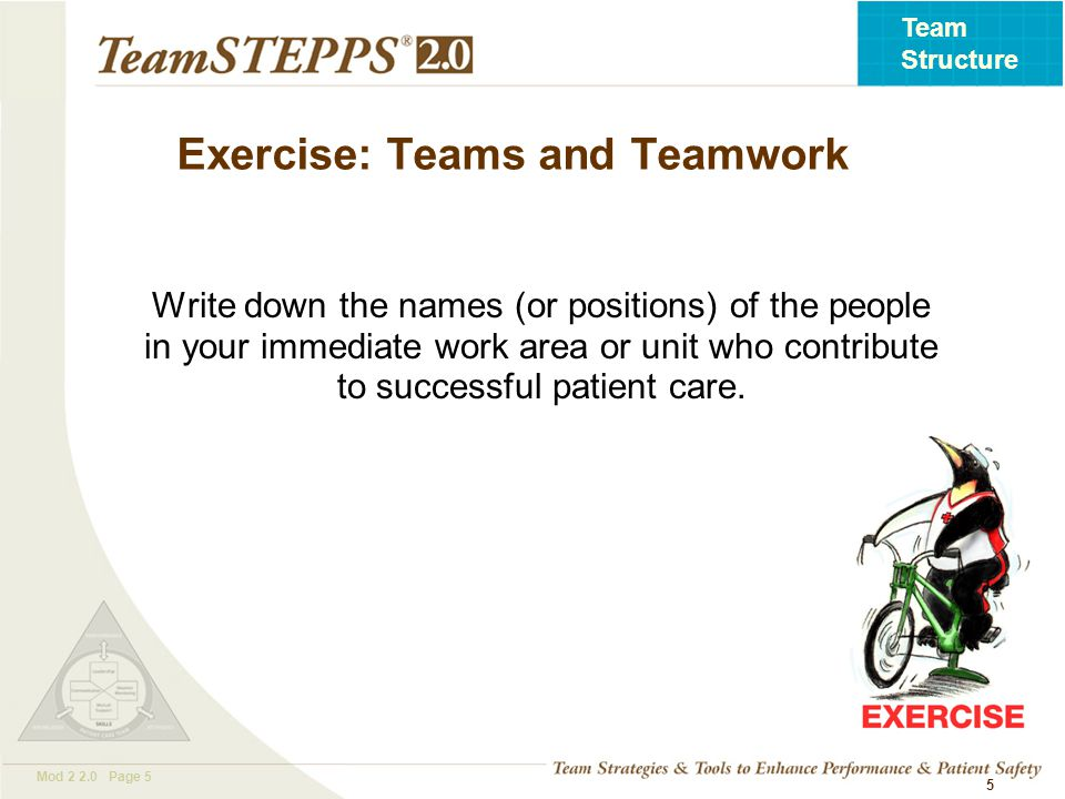 T EAM STEPPS 05.2 Mod 2 2.0 Page 5 Team Structure 5 Exercise: Teams and Teamwork Write down the names (or positions) of the people in your immediate w