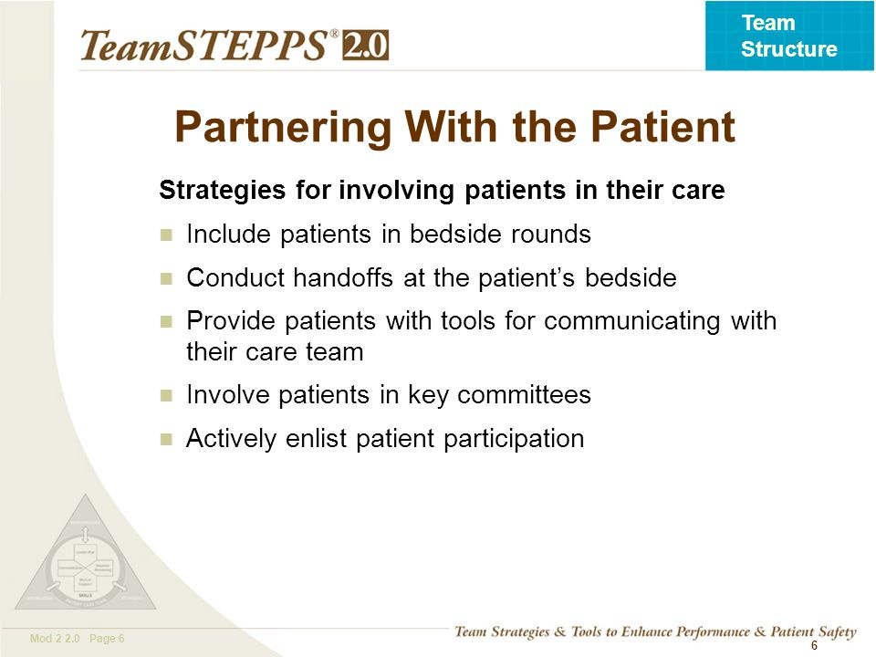 T EAM STEPPS 05.2 Mod 2 2.0 Page 7 Team Structure 7 Clinical Team Responsibilities Embrace patients and their families as valuable and contributing partners in patient care Listen to patients and their families Assess patients' preference regarding involvement Ask patients about their concerns Speak to them in lay terms Allow time for patients and families to ask questions Ask for their feedback Give them access to relevant information Encourage patients and their families to proactively participate in patient care