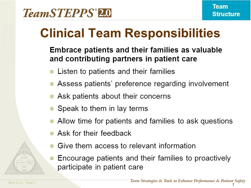 T EAM STEPPS 05.2 Mod 2 2.0 Page 8 Team Structure Patient and Family Responsibilities Provide accurate patient information Comply with the prescribed plan of care (e.g., schedule and attend appointments as directed) Ask questions and/or voice any concerns regarding the plan of care Monitor and report changes in the patient's condition Manage family members Follow instructions of the clinical team 8