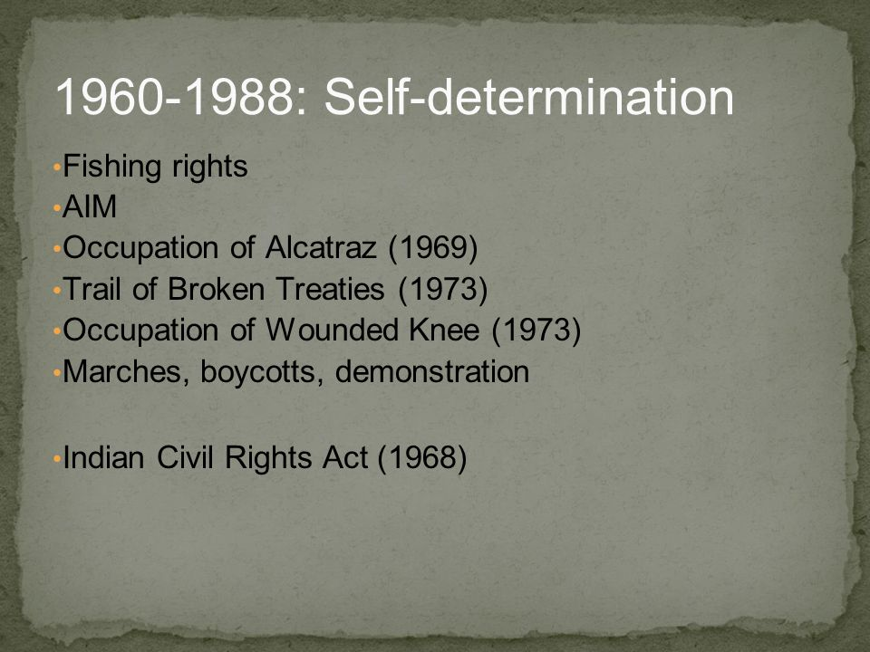 Fishing rights AIM Occupation of Alcatraz (1969) Trail of Broken Treaties (1973) Occupation of Wounded Knee (1973) Marches, boycotts, demonstration In