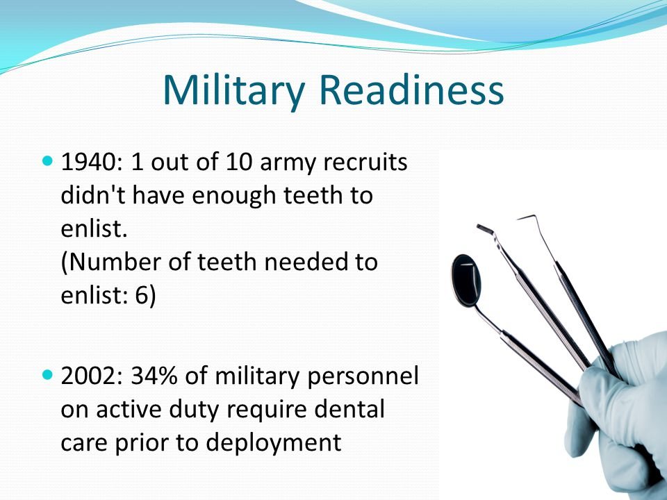 Military Readiness 1940: 1 out of 10 army recruits didn t have enough teeth to enlist.