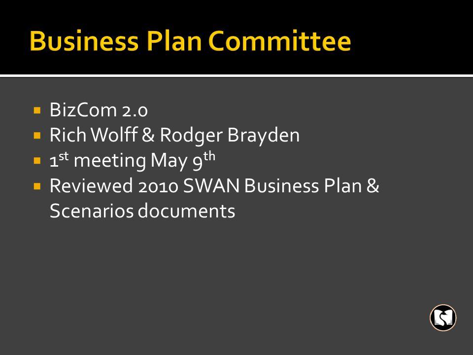  BizCom 2.0  Rich Wolff & Rodger Brayden  1 st meeting May 9 th  Reviewed 2010 SWAN Business Plan & Scenarios documents