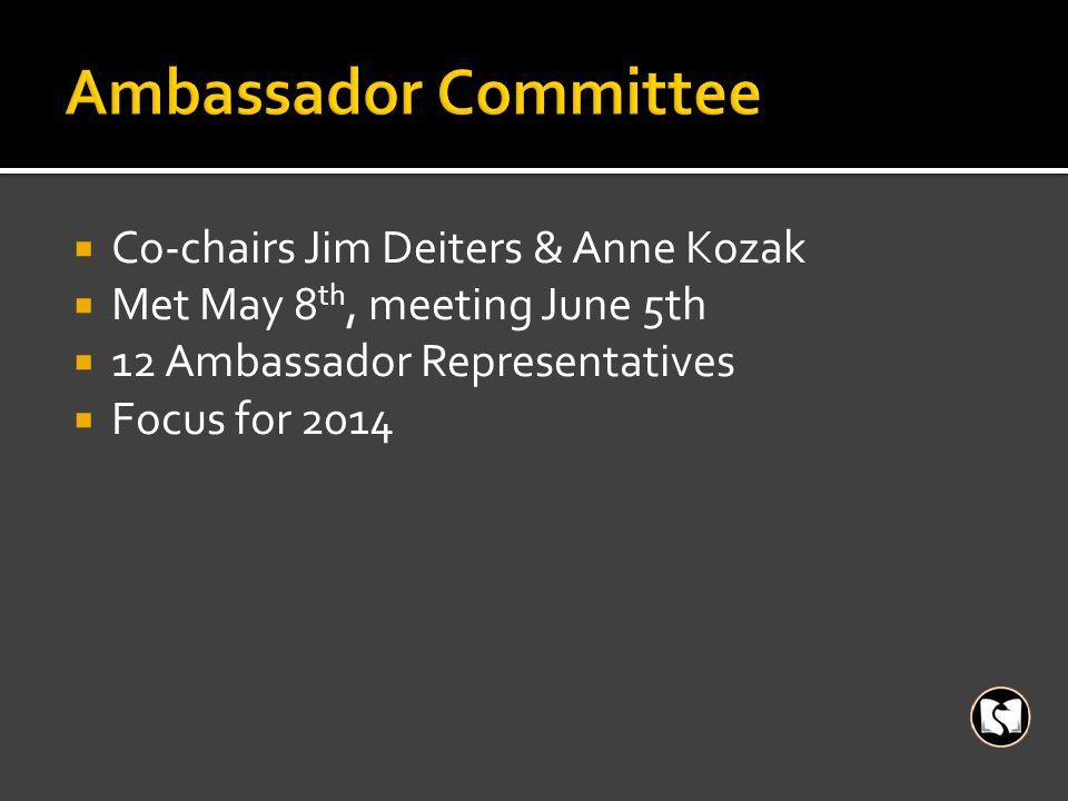  Co-chairs Jim Deiters & Anne Kozak  Met May 8 th, meeting June 5th  12 Ambassador Representatives  Focus for 2014