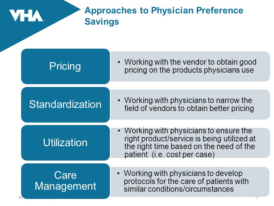 VHA Inc. Confidential Information Approaches to Physician Preference Savings Working with the vendor to obtain good pricing on the products physicians