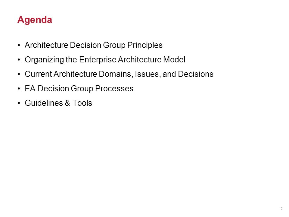 Agenda Architecture Decision Group Principles Organizing the Enterprise Architecture Model Current Architecture Domains, Issues, and Decisions EA Deci