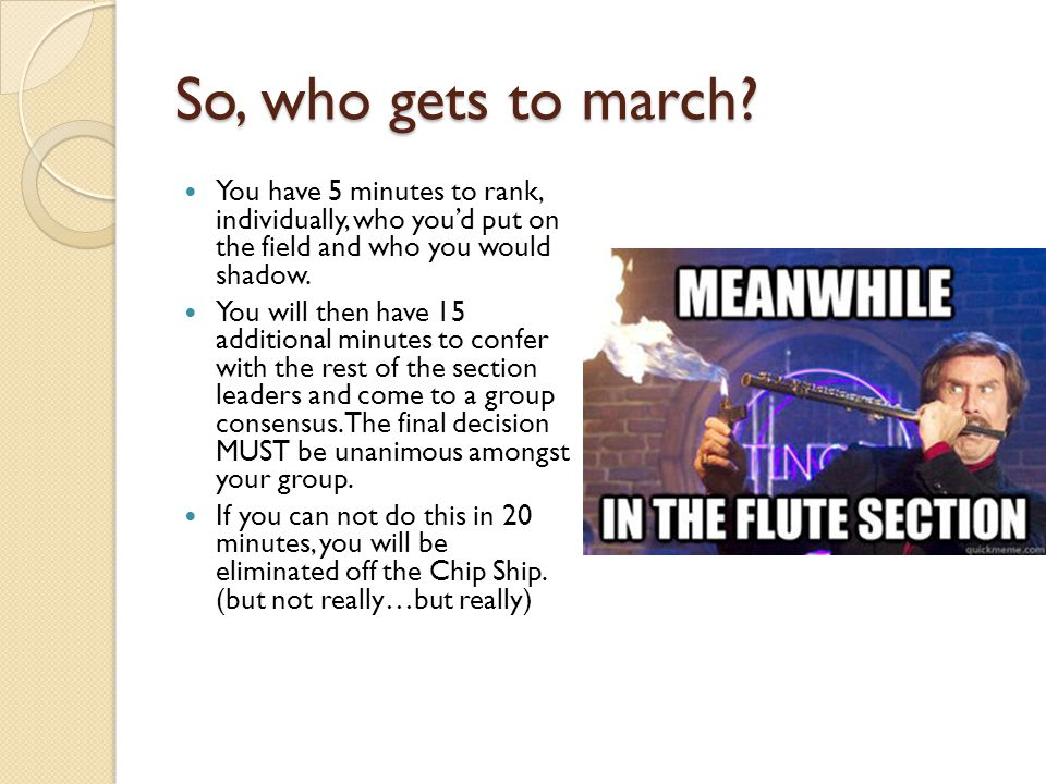 So, who gets to march.
