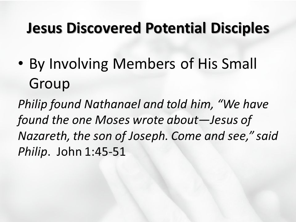 "By Involving Members of His Small Group Philip found Nathanael and told him, ""We have found the one Moses wrote about—Jesus of Nazareth, the son of Jo"