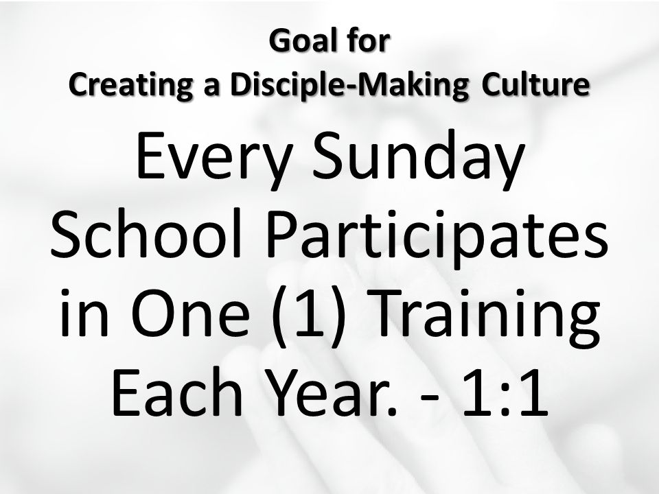 Goal for Creating a Disciple-Making Culture Every Sunday School Participates in One (1) Training Each Year. - 1:1