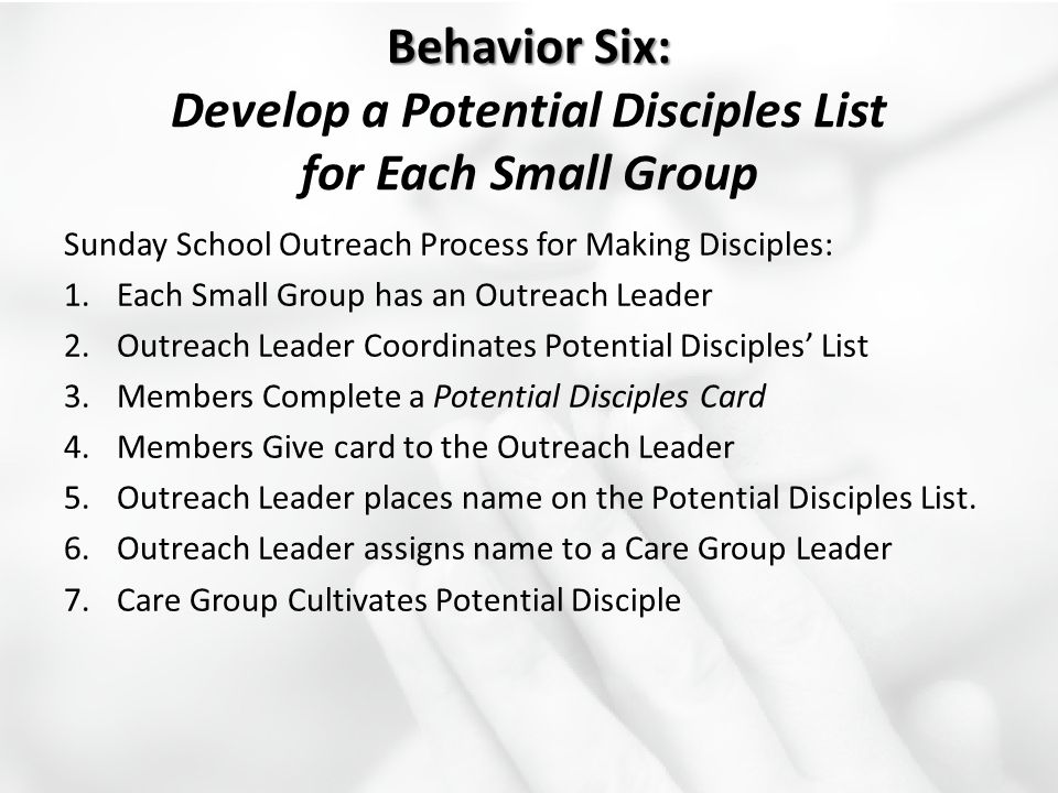 Behavior Six: Behavior Six: Develop a Potential Disciples List for Each Small Group Sunday School Outreach Process for Making Disciples: 1.Each Small