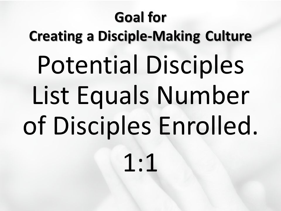 Goal for Creating a Disciple-Making Culture Potential Disciples List Equals Number of Disciples Enrolled. 1:1