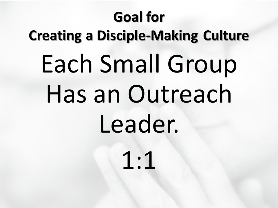 Goal for Creating a Disciple-Making Culture Each Small Group Has an Outreach Leader. 1:1