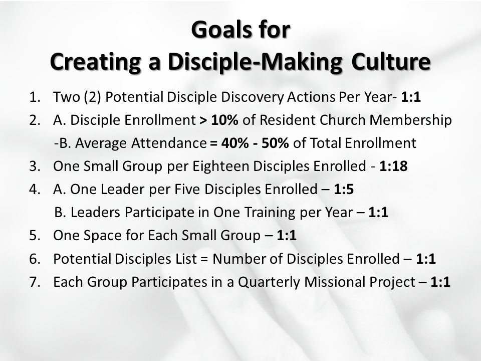 Goals for Creating a Disciple-Making Culture 1.Two (2) Potential Disciple Discovery Actions Per Year- 1:1 2.A. Disciple Enrollment > 10% of Resident C