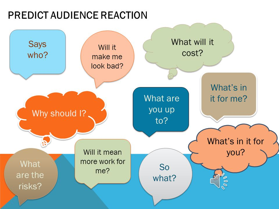PREDICT AUDIENCE REACTION Says who.So what. Why should I.