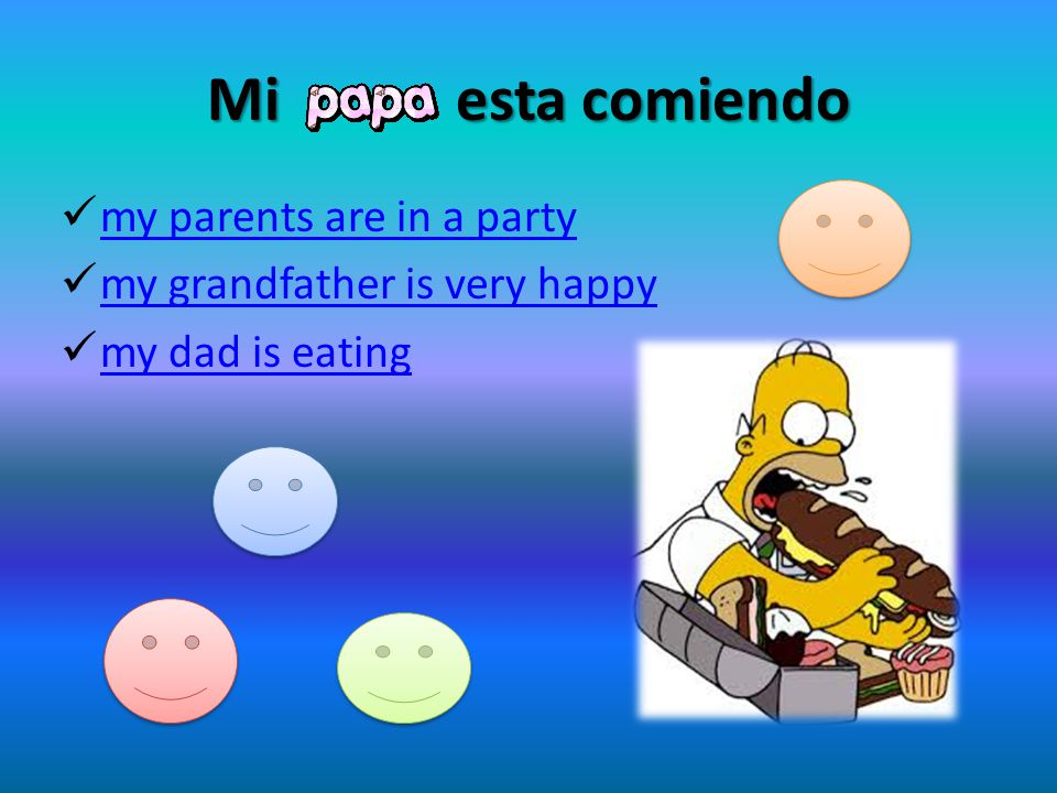 Mi esta comiendo my parents are in a party my grandfather is very happy my dad is eating