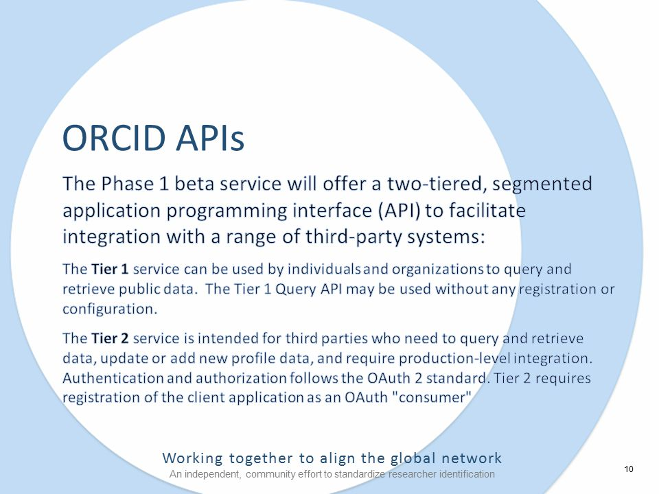 Working together to align the global network An independent, community effort to standardize researcher identification ORCID APIs 10