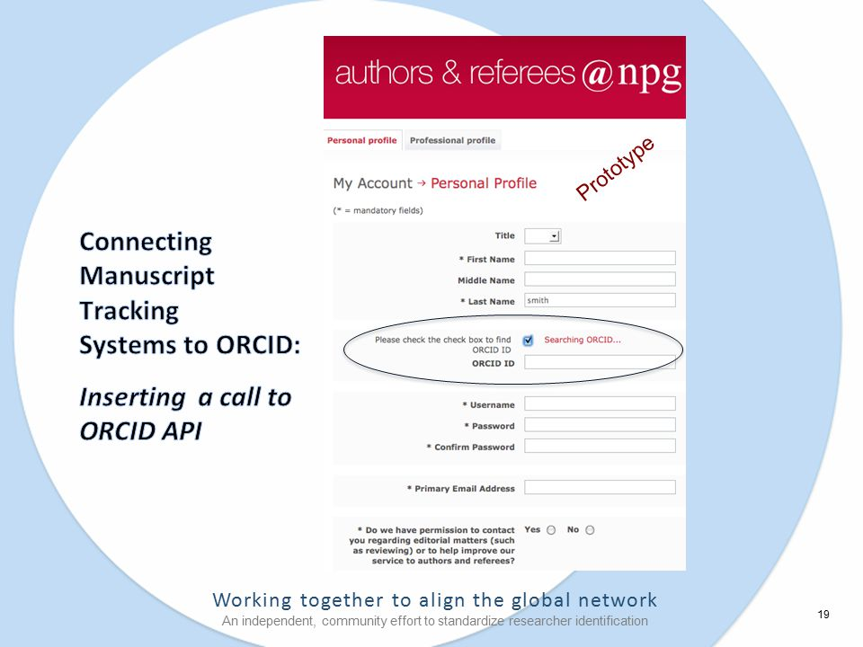 Working together to align the global network An independent, community effort to standardize researcher identification 19 Prototype