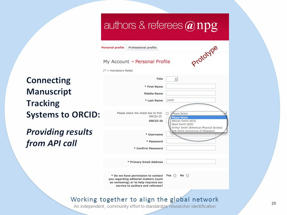 Working together to align the global network An independent, community effort to standardize researcher identification 20 Prototype
