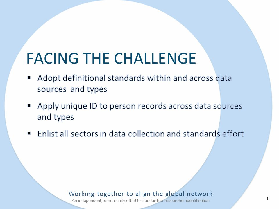 Working together to align the global network An independent, community effort to standardize researcher identification FACING THE CHALLENGE 4